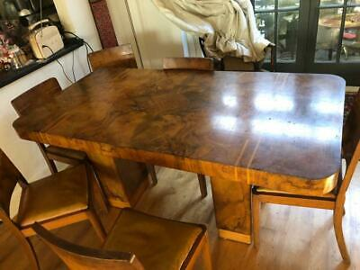 Art Deco Walnut Veneer Dining Table and Six Chairs