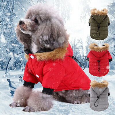 UK Small Dog Pet Winter Padded Coats Pet Cat Puppy Chihuahua Hoodie Warm Clothes