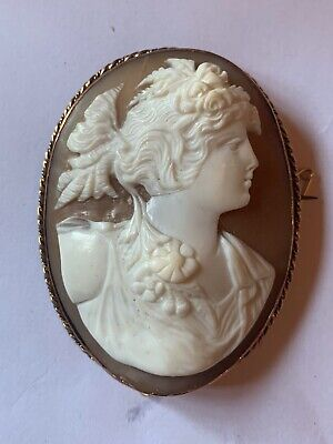 Large Antique Victorian 9 Ct Gold Very Well Carved Cameo Brooch Of Goddess Flora