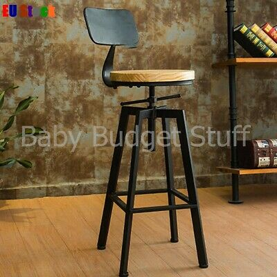 Industrial Retro Stools Cast Iron Chair Back Vintage Pub Dining Breakfast Bar St