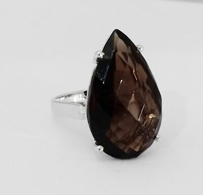 Natural Smoky Topaz Ring 925 Sterling Silver Handmade Oxidized Jewelry JS1-49