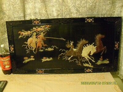 antique chinese panel wall hanging lacquered wood soapstone 18 horses old 39 in