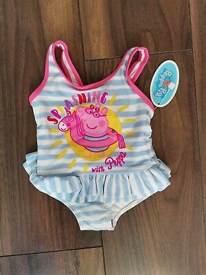 Toddler Girls Official Peppa Pig Striped Ruffle Swimming Costume Swimsuit