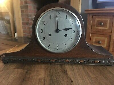 Large Vintage Enfield Wooden Mantle Clock Made Great Britain