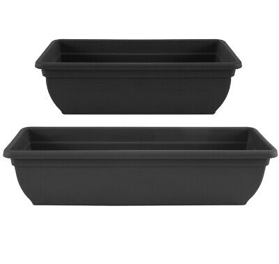 Trough Plant Pot Long Plastic Planter Outdoor Garden Window Herb Flower Box