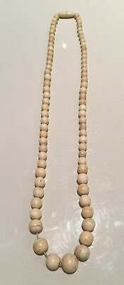 Superb Antique Art Deco Chinese Carved Bovine Cow Bone Bead Necklace 46G