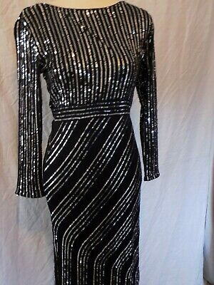 Ladies  Art Deco Style French Connection Full Lenght Dress Evening/Cocktail 16