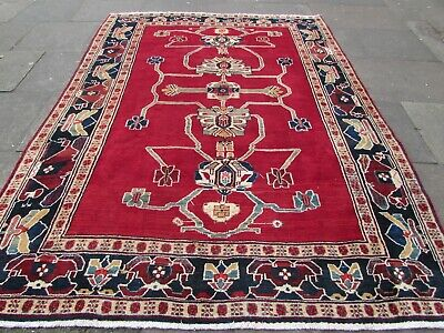 Vintage Hand Made Traditional Oriental Red Blue Wool Large Carpet 287x213cm