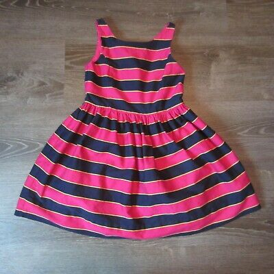 Polo Ralph Lauren Girls Dress Size 10 Fit & Flare Lined Blue Pink Yellow Striped