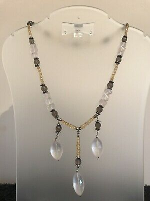 Beautiful Citrine, Rose & Smoky Quartz  Gemstone Necklace With 925 Silver