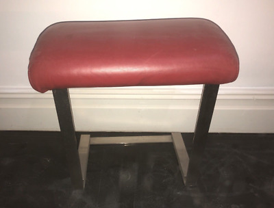 Red leatherette and chrome retro stool
