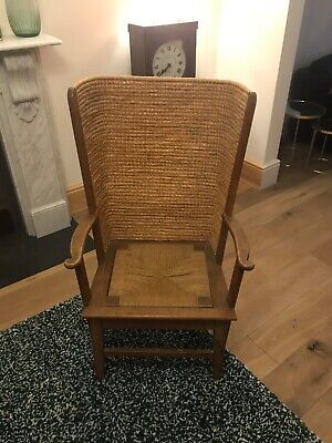 Antique 19th Century - ORKNEY CHAIR - Oak, Pine and Straw Back Construction 42""