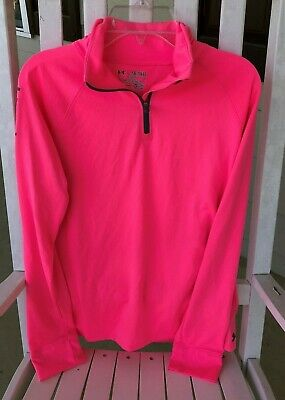 Under Armour Pink Girls 1/2 Zip Top Shirt  Loose Fit sz Youth XL