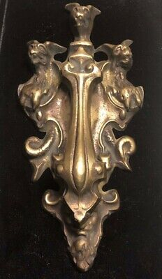 Large Gothic Revival Solid Brass Door Knocker North Wind and Three Gargoyles