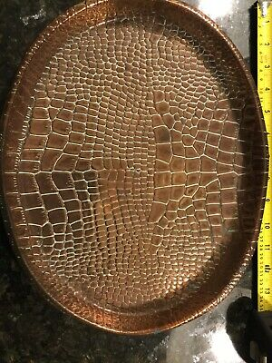 Oval Copper Crocodile/Lizard Skin Tray Joseph Sankey Arts & Crafts/Art Nouveau