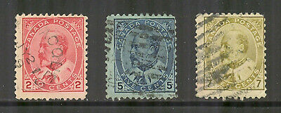 Canada # 90-92, 1903 2c/5c/7c King Edward VII, Cancelled / Used