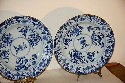 Antique pair of Chinese blue and white large plates