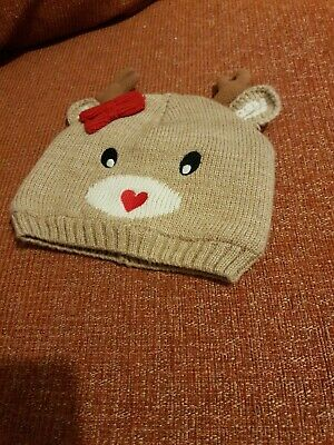 Barely Worn. Baby Girl Reindeer Wooly Hat Xmas. 12-18 Months
