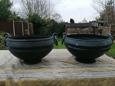 Pair Of Large Antique Copper Jardinieres Arts & Crafts Good Patina 19Th Century