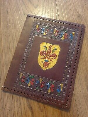 Vintage, Hand Tooled, Leather Journal / Book Cover Vgc Painted Crest Floral