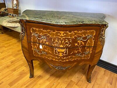 antique bombay commode with green marble top and brass running down front legs