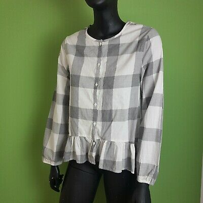 Zara Girls Checked Boho Shirt Grey and White Age 13-14 Button Up Long Sleeve
