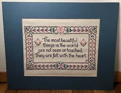 Vintage Completed Finished Cross Stitch Piece Quote 1980s with Mat