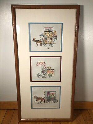 Vintage Finished Cross Stitch Pieces Old Time Horse Drawn Street Vendors Framed