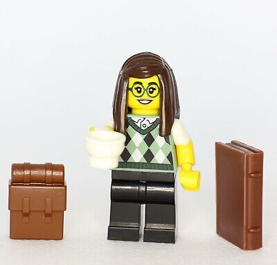 NEW LEGO LIBRARIAN MINIFIG book female bookworm nerd minifigure figure library