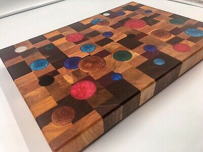 Rustic Meets Modern End Grain Exotic Wood Cutting Board Charcuterie Serving Tray