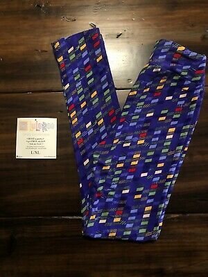 Lularoe Kid's L/XL Kid's Leggings Blue Red Green Yellow, cute! NWOT
