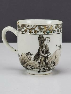 Antique 18Th Century Chinese Export Grisaille Porcelain Cup, European Scene