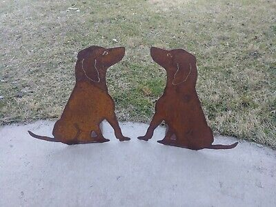 "Freestanding Metal Dog Silhouettes ~ Rustic Labrador Cut Metal ~ 19"" Tall"