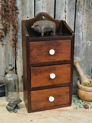 Antique Primitive Wood Spice Cabinet 3 Drawer AAFA Apothecary Wall Box
