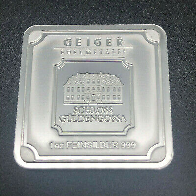 1Oz  Geiger Original Square Bullion - 999 Fine Silver Bullion Bar #55