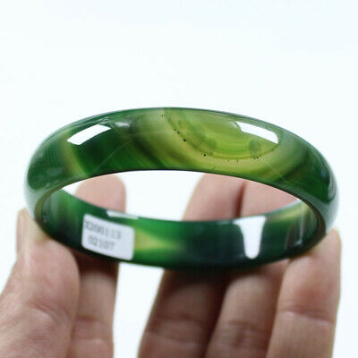 67mm Certified Natural Grade Agate Chalcedony Green Jade Bracelet Bangle Z462