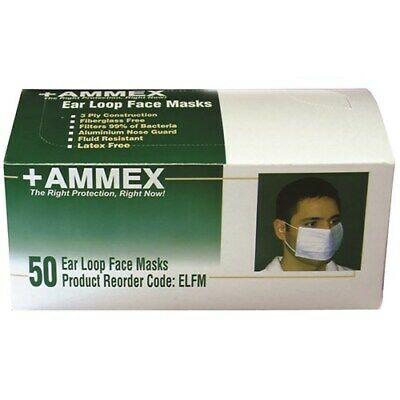 600pc AMMEX Disposable Earloop Face Mask BFE 99% Medical Surgical Dental, Blue