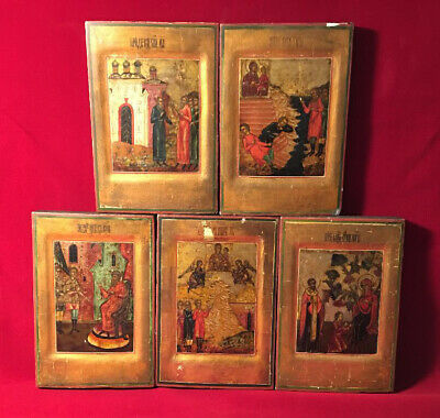 Set of Five Antique Russian Icons : Scenes from the Tikhvin Icon