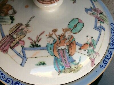 CHINESE ANTIQUE QIANJIANG PORCELAIN POT AND LID~Incredible Hand Painted Scenes!