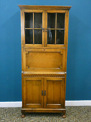 Antique Oak Bookcase Bureau Cabinet with glass display, Arts & Crafts. Northants
