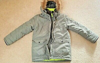BOYS khaki padded winter JACKET PARKA with HOOD by H&M Age 9-10 WORN ONCE RR £30