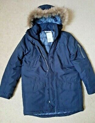 BOY'S NAVY padded winter JACKET PARKA with HOOD by H&M Age 9-10 BNWT RRP £30