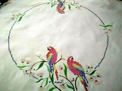 Australian Rosella Parrots & Gum Flowers  Vintage Hand Embroidered Tablecloth