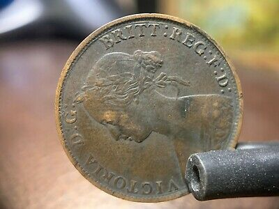 1864 One Cent New Brunswick Coin vf