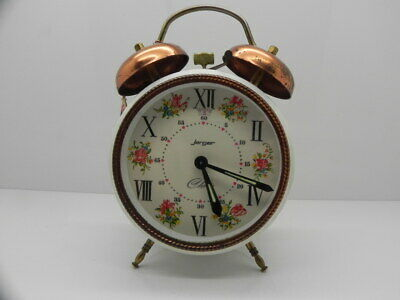 VINTAGE 1960's JERGER CHERIE GERMANY MECHANICAL WIND UP TWIN BELL ALARM CLOCK