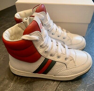 GUCCI Authentic White Boys Girls high top Trainers Boots Kids Uk 7-EU 25 Box VGC