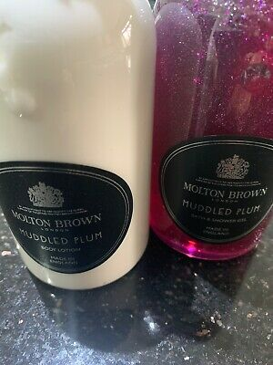 Molton Brown Muddled Plum Gift Set. Bath and Shower Gel & Body Lotion 300 ml