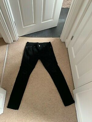 Mens Black Ripped Skinny Jeans 34R