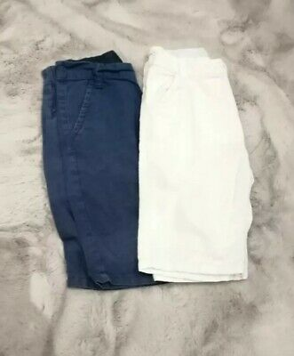 Boys Next Blue & White Linen/Cotton Shorts - Age 10 Years