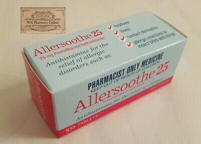 Allersoothe 25 (Same As Phenergan 25mg - Anti - Histamine) Plus *Free Gift*